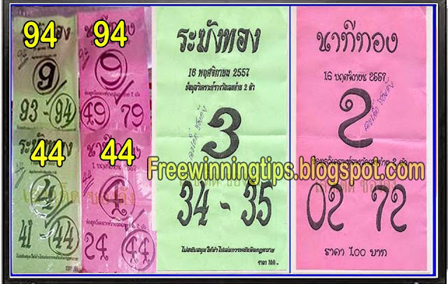 Thai Lotto Hot Down Single Sure and Direct 16-11-2014