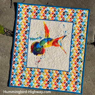 Hummingbird Cross stitch quilt wall hanging