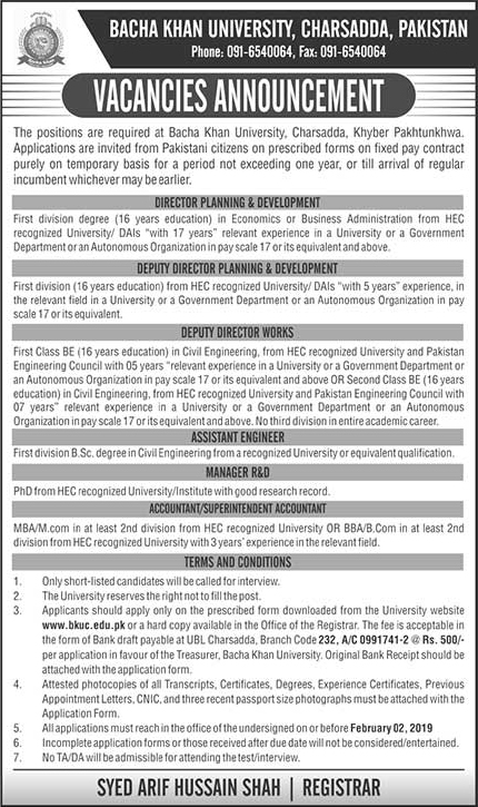 Bacha Khan University Charsadda Announced Jobs in Charsadda KPK