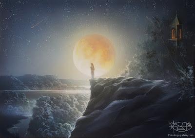 Resultado de imagen de paisajes  de luna llena animados