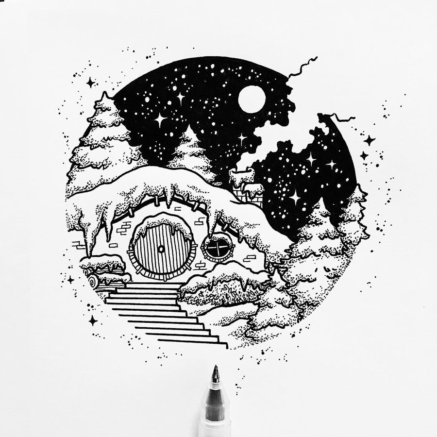02-Hobbit-Ink-Drawings-Stephanie-Mai-www-designstack-co