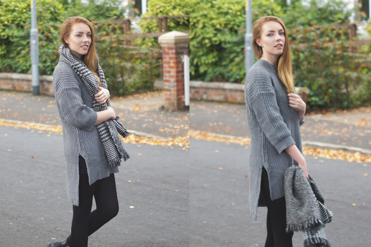 grey knitwear jumper dress