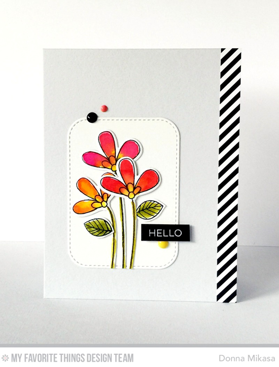 Floral Hello Card by Donna Mikasa featuring the Label Maker Sentiments stamp set, the Build-able Bouquet stamp set and Die-namics, and the Stitched Rounded Rectangle STAX Die-namics #mftstamps