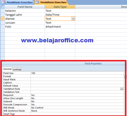 Setelah pembuatan form aplikasi sederhana  Belajar Mengatur Field Properties Pada Microsoft Access