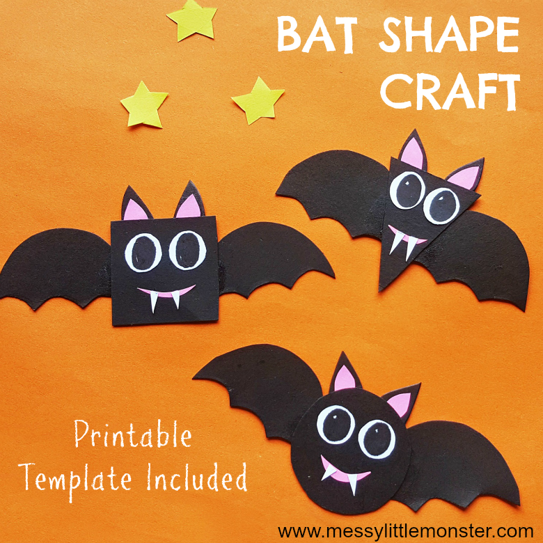 Bat craft and preschool shapes activity with bat pattern