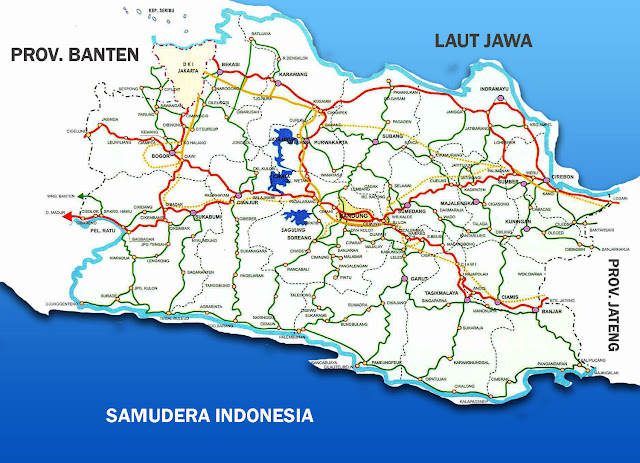 Gambar Peta Jawa Barat lengkap dengan nama kabupaten dan peta jalan utama