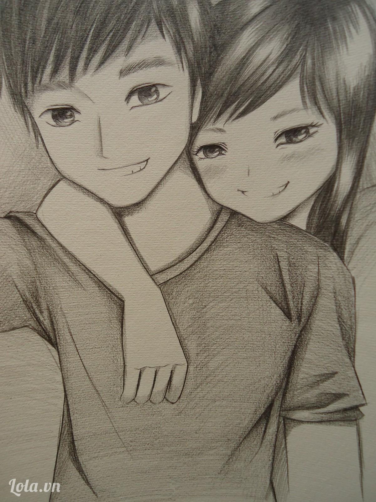Hình vẽ cặp đôi hoạt hình dễ thương bằng bút chì