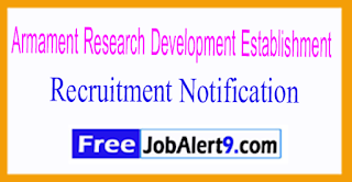 ARDE Armament Research And Development Establishment Recruitment Notification 2017 Last Date 15-07-2017