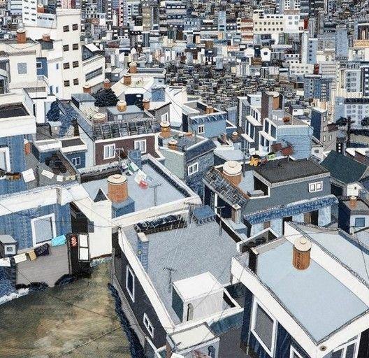 urban landscape Busan second hand denim creative painting