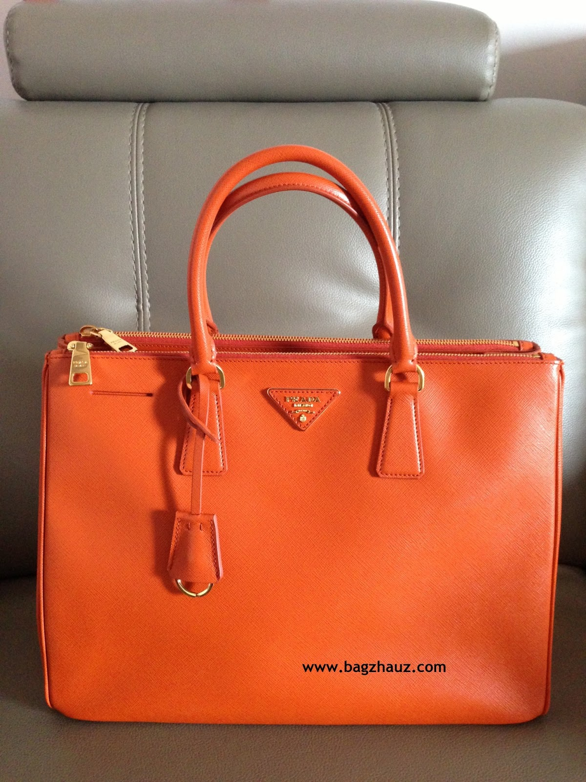 0a9c758b3893 ... ireland sold out prada bn1786 saffiano leather tote in papaya 08c82  0c7c7