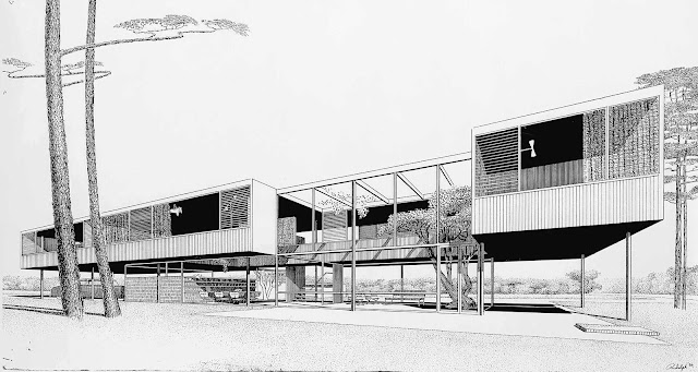 Paul Rudolph architecture, a drawing of a house elevated on steel posts
