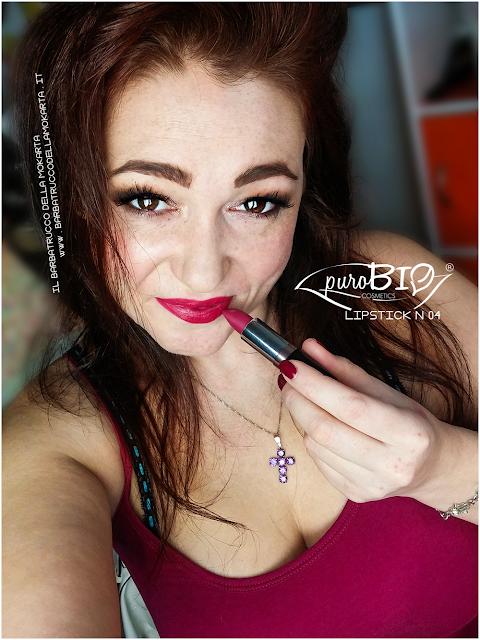 applicazione makeup , matita n 38,  lipstick n 04 ,  rossetti purobio , lipstick, vegan makeup, bio makeup