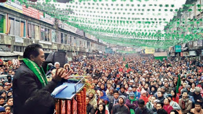 GNLF chief Mann Ghising addressing jansabha in Darjeeling