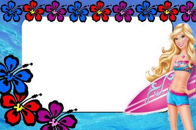 barbie vida de sereia kit completo com molduras para convites