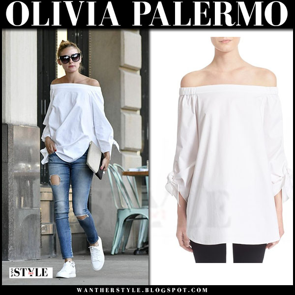 Olivia Palermo in white off shoulder tibi top, ripped jeans and white sneakers what she wore