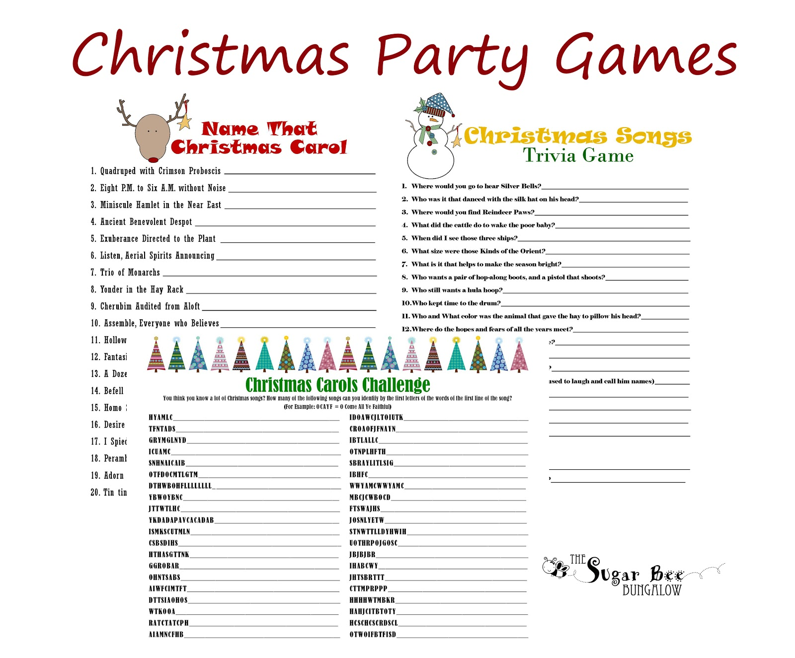 40 FREE Printable Christmas Party Games – Tip Junkie