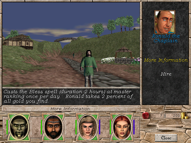 Hiring a companion in Might and Magic 7