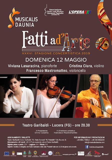 """Lucera e la musica, con """"Fatti ad arte"""" tre appuntamenti al Teatro Garibaldi"""