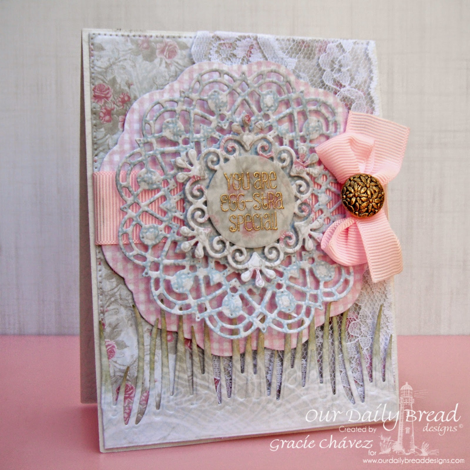 Our Daily Bread Designs, Shabby Rose Collection, Basket of Blessings, Doily Dies, Flourished Star Pattern, Grass Border Die, Designed by Gracie Chávez