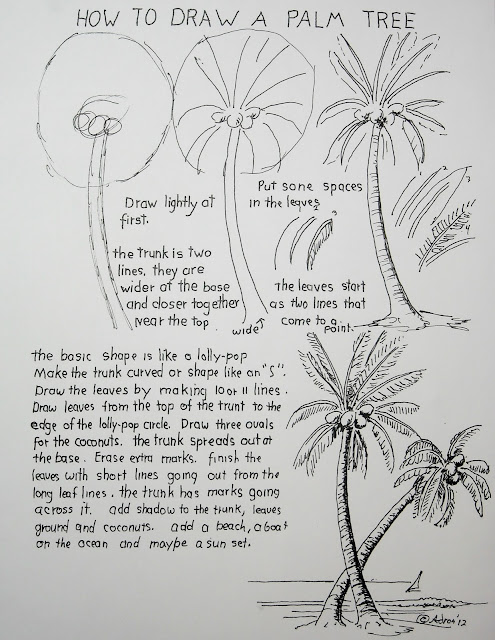 Worksheet for art lesson on how to draw a palm tree.