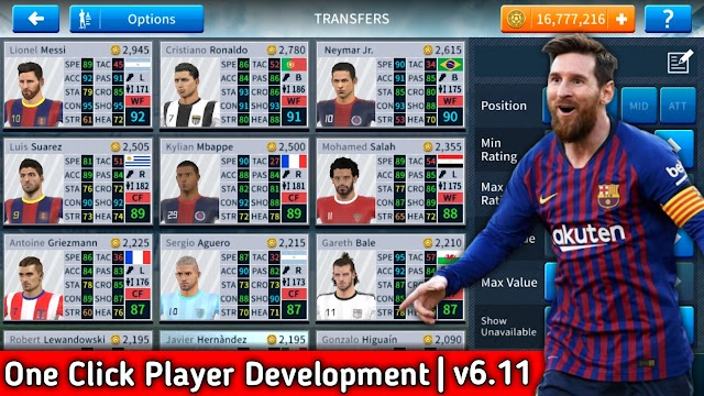 Dream League Soccer 2019 Mega MOD Apk v6.11 One Click Player Development