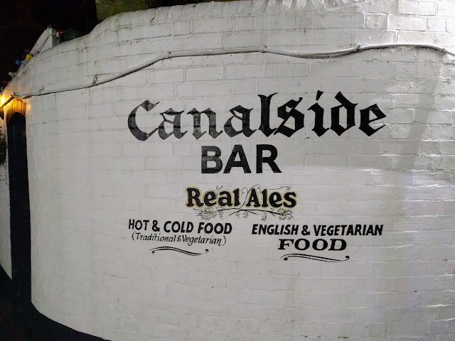 White wall of the Canalside Bar in Birmingham, England