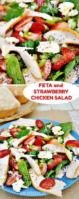 The best Chicken Salad ever ! Loaded with Strawberries, Feta and more ~ makes a delicious light dinner or lunch on a hot day