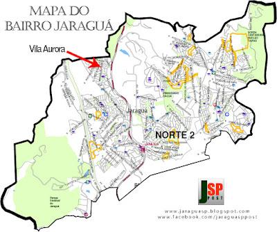 Mapa com a posição da Vila Aurora dentro do bairro Jaraguá
