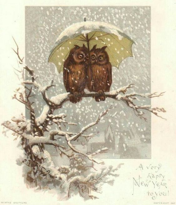 here are two vintage new year cards to enjoy i like the wildlife art in them