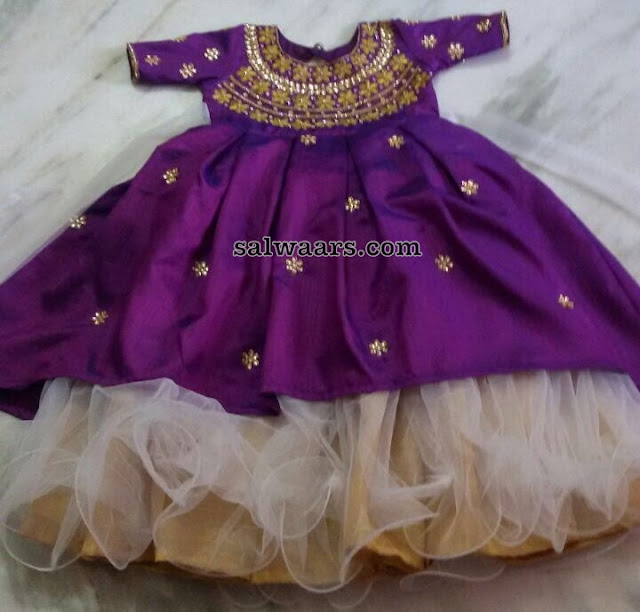Purple Off White Kids Frock