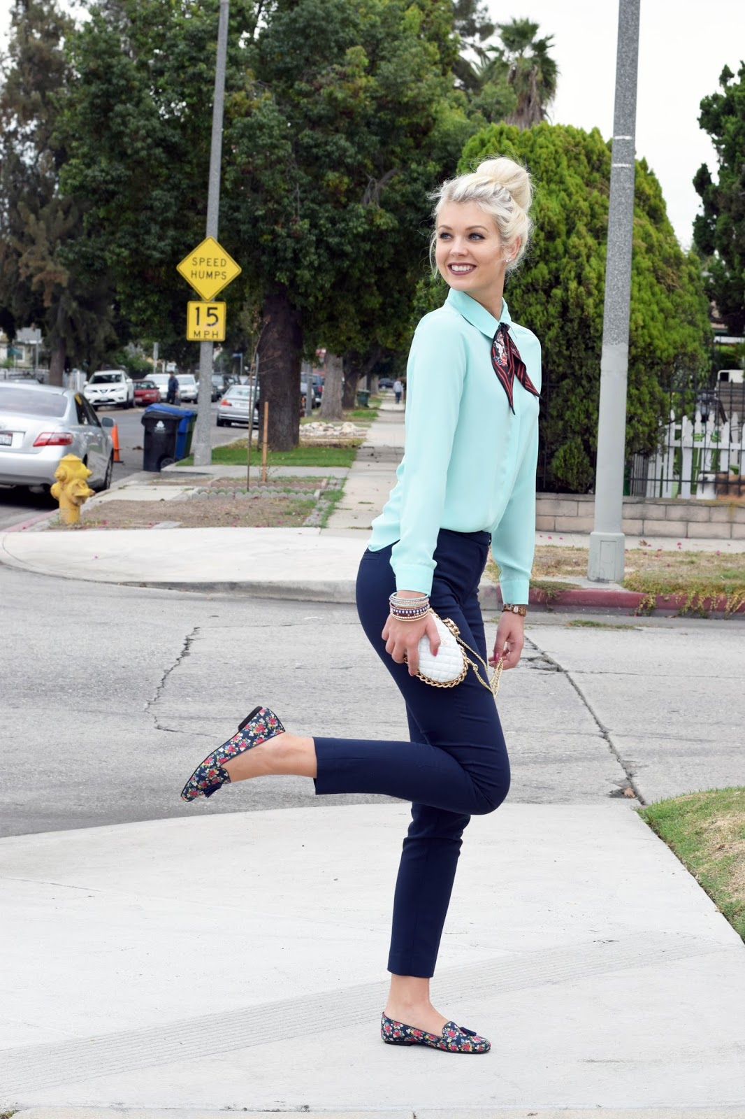 Nicole lee clutch, loafers, how to style loafers