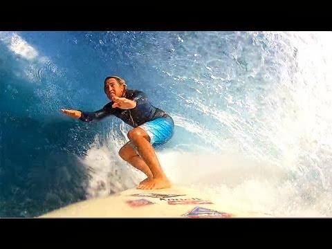 GoPro HD Dino Miranda longboard barrels at Backdoor Hawaii