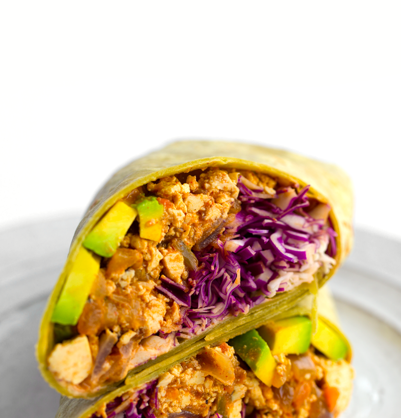 Southwest Tofu Burrito with Avocado