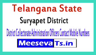 Suryapet District Collectorate Administration Officers Contact Mobile Numbers In Telangana State