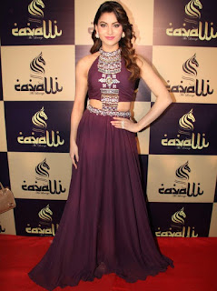 Urvashi Rautela in a Sleevelss Maroon Croptop and Long Skirt at Cavali The Lounge Launch in Mumbai