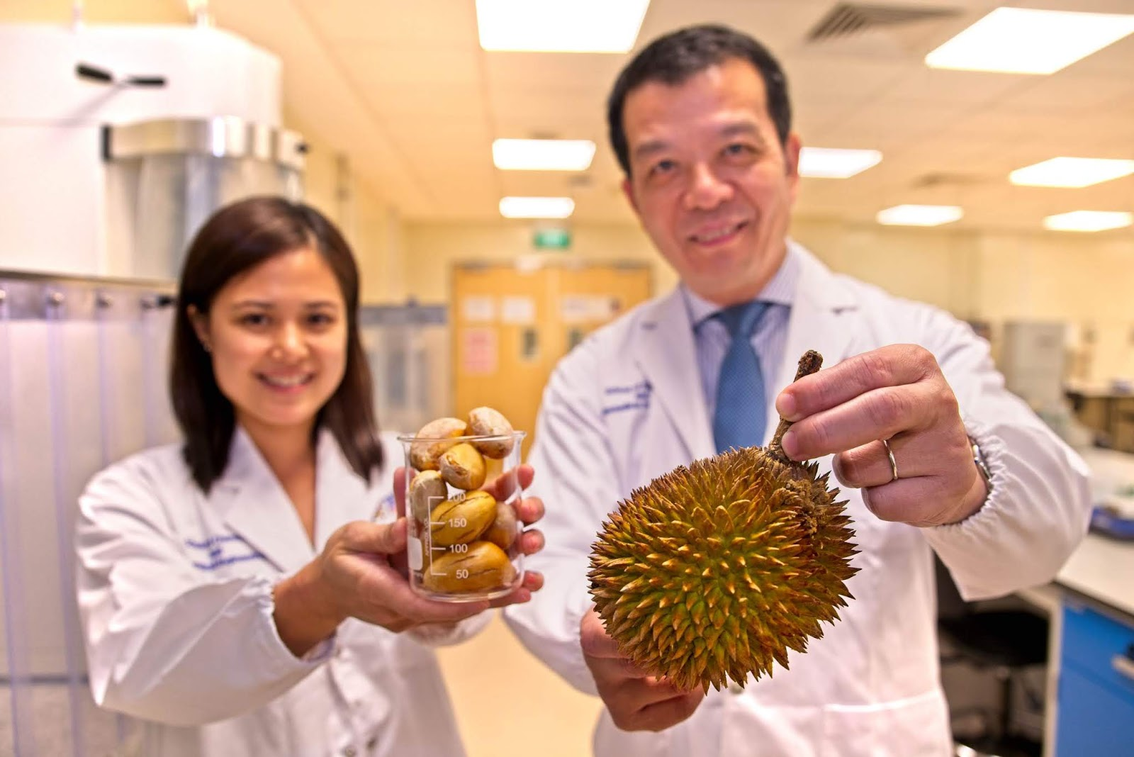 Making durian seeds great again: (L-R) NTU research fellow Dr Jaslyn Lee and Prof William Chen, NTU Director for the Food Science
