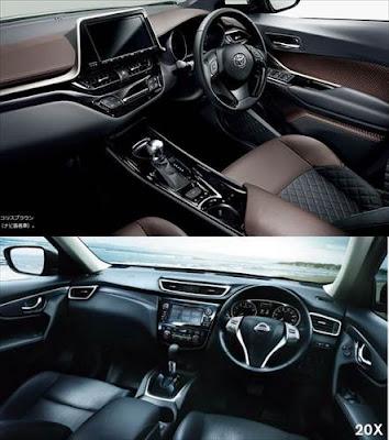 トヨタ C-HR vs 日産 エクストレイル 内装の違い 比較