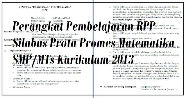 RPP Silabus Prota Promes Matematika SMP/MTs
