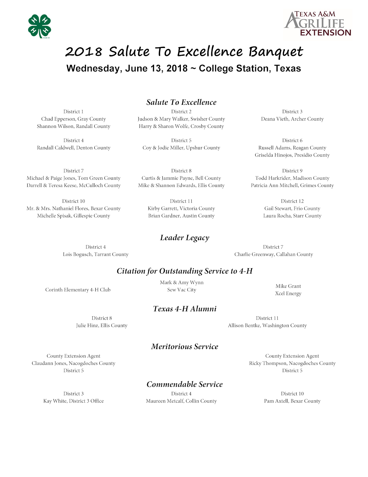 Salute to Excellence Honorees Announced | Texas 4-H