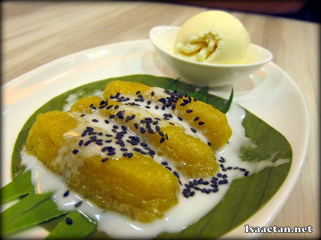 Steamed sweet Banana with Vanilla Ice Cream