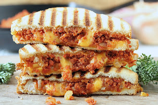GROUND CHOURICO GRILLED CHEESE SANDWICH