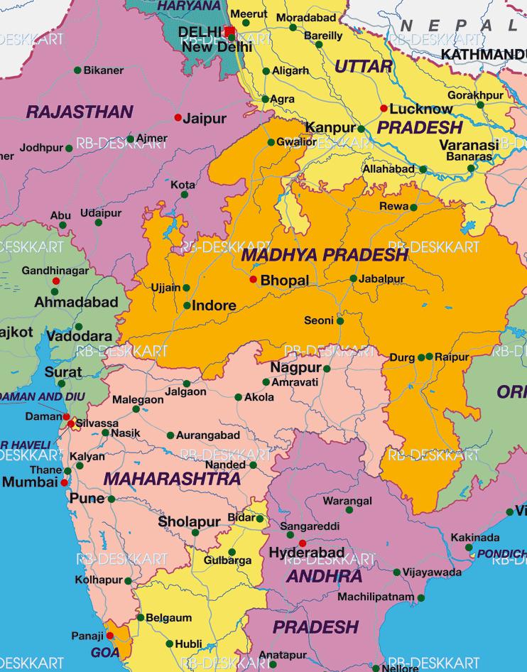 Cartina India.Marco Carnovale Itinerario Viaggio In India Centrale