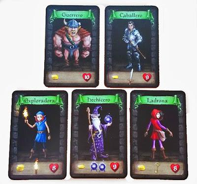 Cartas de los personajes del Dungeon Raiders