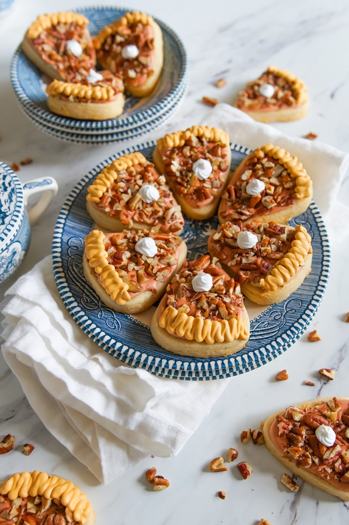 Pecan Pie Decorated Cookies + a recipe for Brown Sugar and Orange Cut-Outs | bakeat350.net