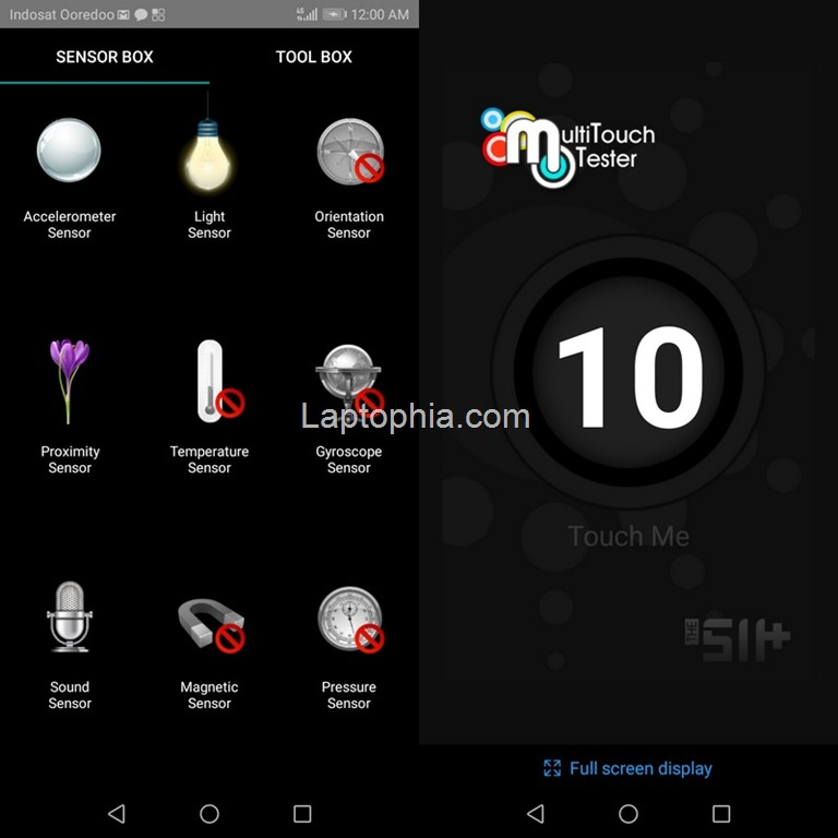 Sensorbox for Android & Multitouch Tester Honor 7A