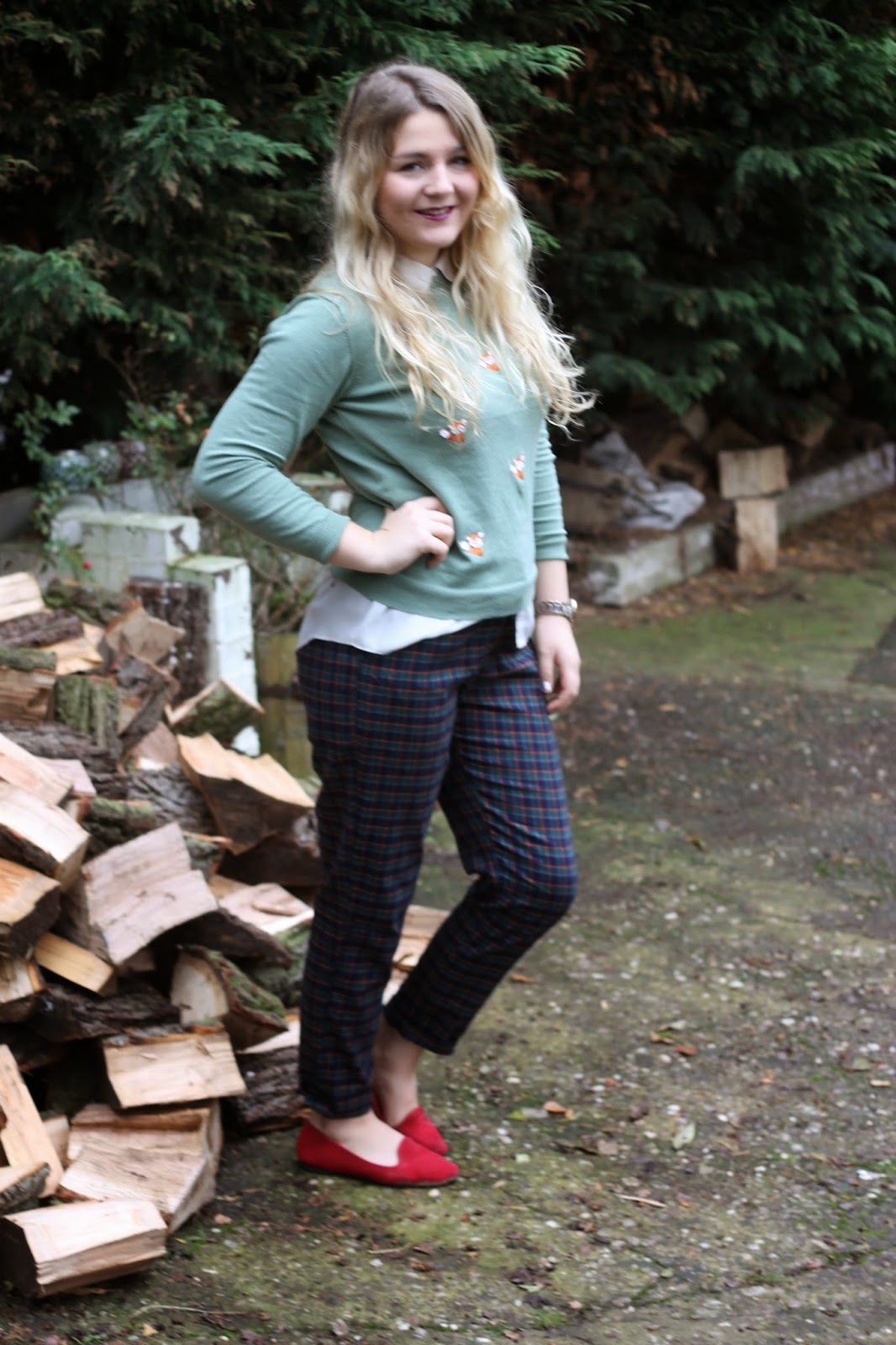 Primark fox jumper checked trousers