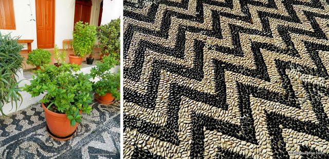 piso em choklákia, mosaico típico do Dodecaneso, Grécia