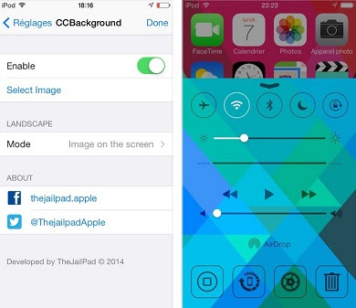 CCBackground: is a control Center tweak which lets you changing control center background from your Camera Roll.