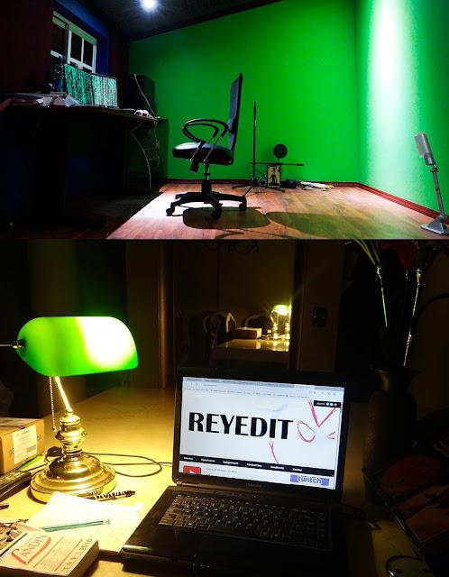 oficina, lámpara verde, laptop, productividad