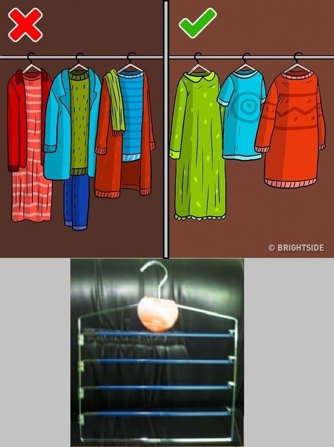 b383347a07491 ... هذا الخطأ عن طريق شراء الشماعات ذات المستويات المتعددة فهذه الشماعات  توفر لك المساحة داخل الخزانة كما أنها تحافظ على الملابس لأن كل قطعة مُعلقة  على حدة.